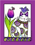 GARDEN CAT IN PURPLES