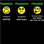 The Chemist's point of view is always different.  If the glass is half full for an optimist and a Pessimist sees the glass as half empty then what does a Chemist see?  Simple.  A Chemist sees the glass as 50% H20, 40% N2 and 10% O2.  This is a great Chemi