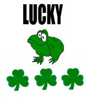 LUCKY FROG WITH 3 AND 4 LEAF CLOVERS