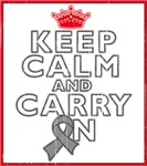 Brain Cancer Keep Calm Carry On Shirts