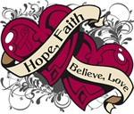 Multiple Myeloma Hope Faith Dual Hearts Shirts