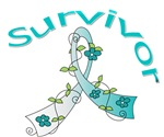 Cervical Cancer Floral Ribbon Survivor Shirts