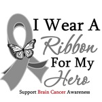 Brain Cancer I Wear Ribbon Hero