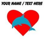 Custom Blue Dolphin Heart