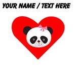 Custom Girl Panda Face Heart
