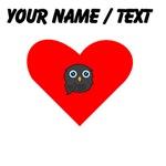 Custom Black Owl Heart