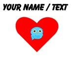 Custom Sky Blue Owl Heart