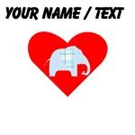 Custom Blue Plaid Elephant Heart