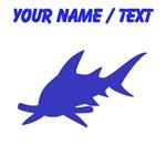 Custom Blue Hammerhead Shark Silhouette