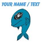 Custom Blue Fish Drawing Cartoon