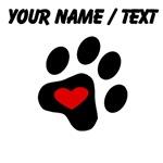 Custom Heart Cat Paw Print
