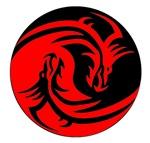 Red And Black Yin Yang Dragons