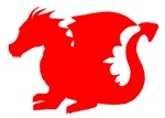 Red Baby Dragon Silhouette