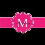 Black and Hot Pink Flower Monogram