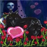 Schipperke Valentine be mine hearts