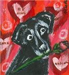 Black Labrador rose Valentine