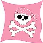 Pink Skull & Crossbones Pirate Flag