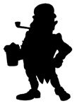 Leprechaun With Beer Silhouette