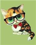 Hipster Cat Big Eyed Kawaii Kitten With Eyeglasses