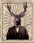 Victorian Deer on Old Map Steampunk Altered Art
