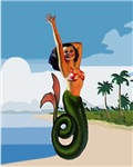 Mermaid Pin Up on Beach Tropic 1950s Retro