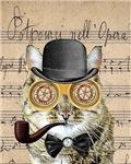 Victorian Steampunk Cat Derby Hat Pipe Collage