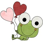 Frog With Heart Balloons Valentine