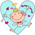 Cupid on Blue Heart