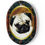 Porcelain Pug Dog Ornaments