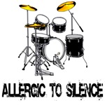 Allergic to silence drums t-shirts and gifts.