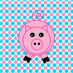 Pink Pig on Teal and Pink