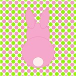 Pink Bunny on Pink and Green