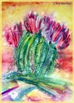 Colorful cactus, southwest art