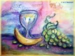Wine, fruit, colorful art