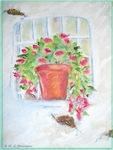 Window, flower, art,