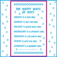 DAYS OF THE WEEK POEM ON KIDS T-SHIRTS