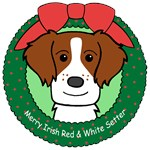 Irish Red & White Setter Christmas Ornaments