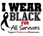 Melanoma I Wear Black For All Survivors Shirts