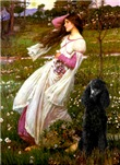 WINDFLOWERS<br>& black Standard Poodle #1