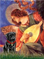 ANGEL WITH MANDOLIN<br>& Black Pug