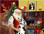 SANTA AT HOME<br>With a Harlequin Great Dane