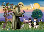 Saint francis with<br>Two Australian Shepherds