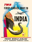 TWA Vintage Fly to India Advertising Print