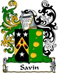 Savin Family Crest, Coat of Arms