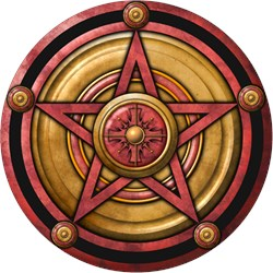 Red Pentacle w/gold
