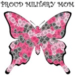 Proud Military Mom - Pink Flower Butterfly