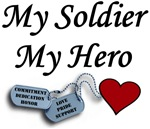 My Soldier My Hero Dog Tags with Heart