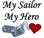 Navy My Sailor My Hero Dog Tags with Heart