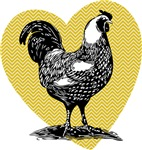 Rooster Chevron Heart