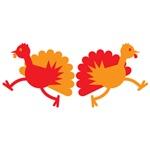 TWO running Turkeys